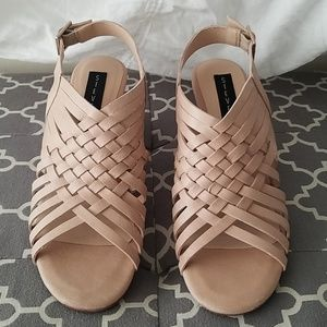 Adorable Nude Leather strappy wedge sandals